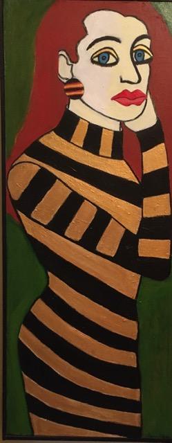 "Dorothy Cancellieri, Golden Woman, Acrylic, 12 1/2""x31"", $400"