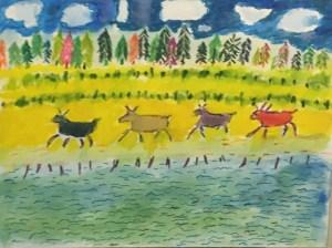 """Daniel Kabakoff, Four Caribou, Watercolor paper/watercolor , 16""""x20"""", $350"""
