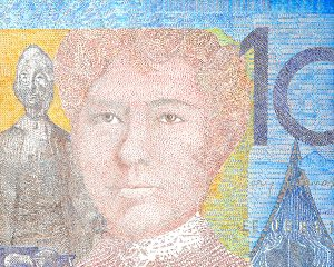 "Jenna Lash, No Foe Shall Gather Our Harvest (Australian 10 Dollar Note), Acrylic on canvas, 60""x48"", $5,500"