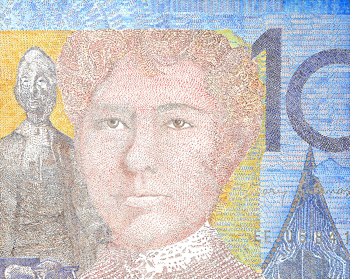 "Jenna Lash, No Foe Shall Gather Our Harvest (Australian 10 Dollar Note), Acrylic on canvas, 60""x48"", $5,500"
