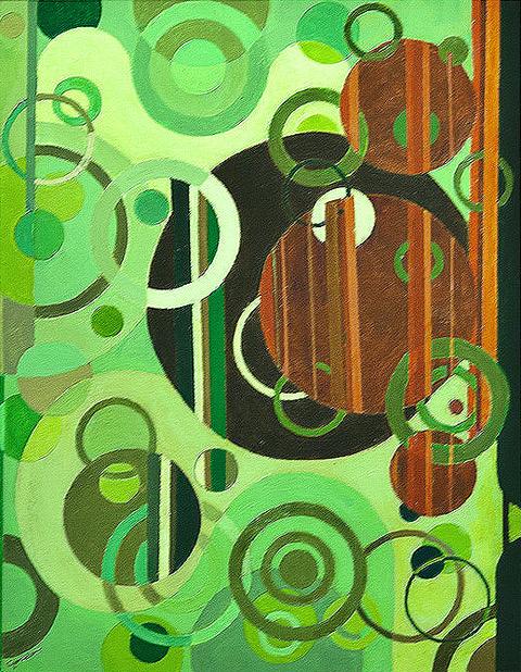 "Larry Gordon, Circular Circulation, Acrylic on canvas, 18""x24"", $850"