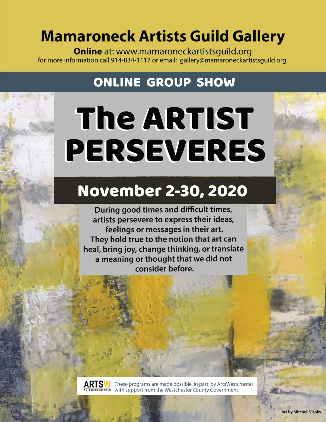 A flyer for online group show The Artist Perseveres