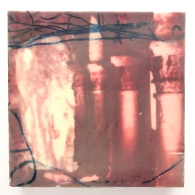 "Christine Aaron,Liminal Red, Paper lithography,encaustic on panel, 8""x8"",$175"