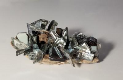 "Christine Aaron, Remnant III, Mirror shards, wood, encaustic, 5.5""x3.25""x2.5"", $175"