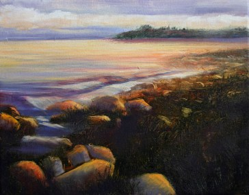 "Jane Black, Amber Shore, Oil on canvas, 11""x14"", $225"