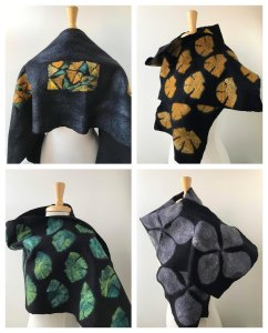 "Elena Rosenberg, Hand-Felted Fiber Art Wraps / Shawls in Merino Wool & Silk, Fiber / Fine Craft, 12""x60"", $320 each"