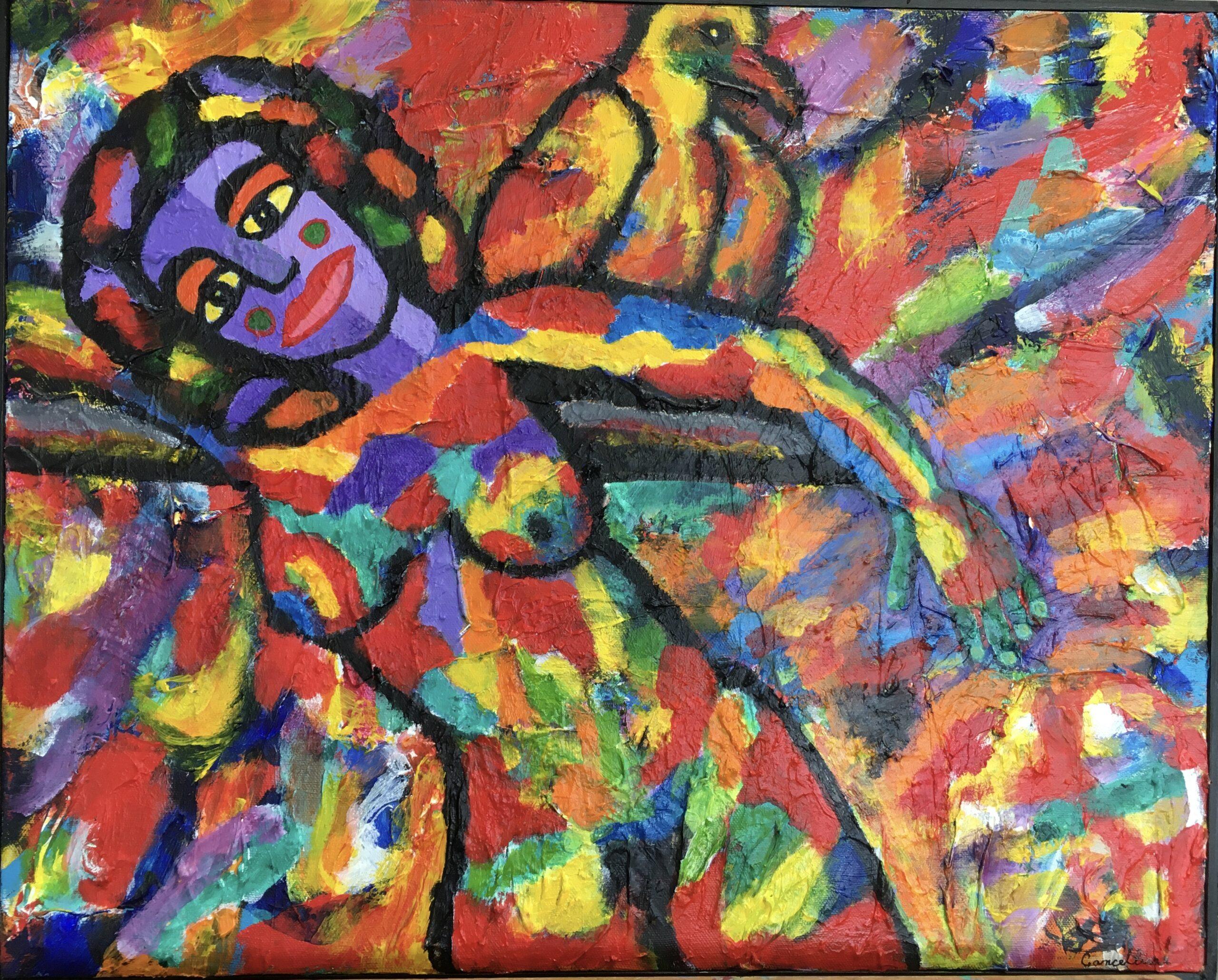 """Dorothy Cancellieri, Woman with Bird, Acrylic, 24""""x18"""", $350"""