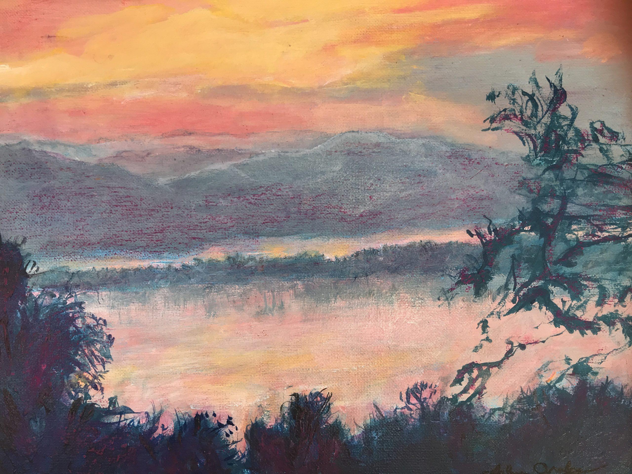 """Arlene Oraby, Sunlight on the Hudson, Oil, 11""""x14"""", $275"""