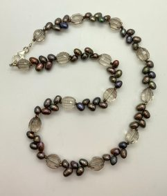 Mindy Ackerman, Necklace MWA08920, Smoky Topaz/Fresh Water Pearls/925 Silver Clasp, $145