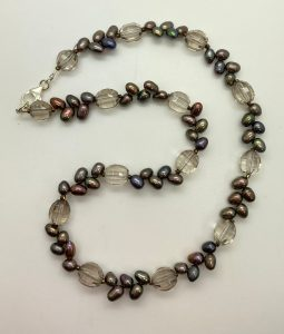 Mindy Ackerman, Necklace MWA08920, Smoky Topaz/Fresh Water Pearls/925 Silver Clasp, $145