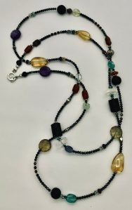 Mindy Ackerman, Necklace MWA16019, Mixed Gemstones/Lava/Black Spinel/Bali Silver Beads/925 Silver Clasp, $385