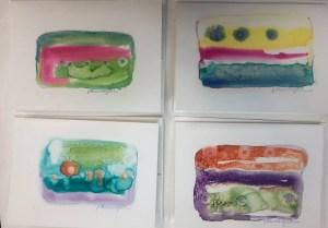 "Paula Blumenfeld, Unique hand painted watercolor greeting cards w/envelopes, 5""x7"", $15 each / $55 set of 4"