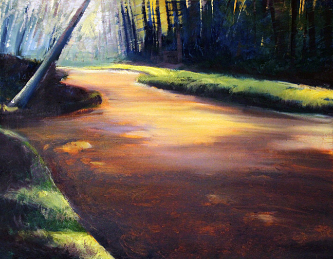 "Jane Black, Placid River, Oil on canvas, 16""x20"", $275"