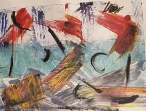 """Helen Pasternack, At Sea, Monotype with mixed media, 10""""x15"""", $250"""