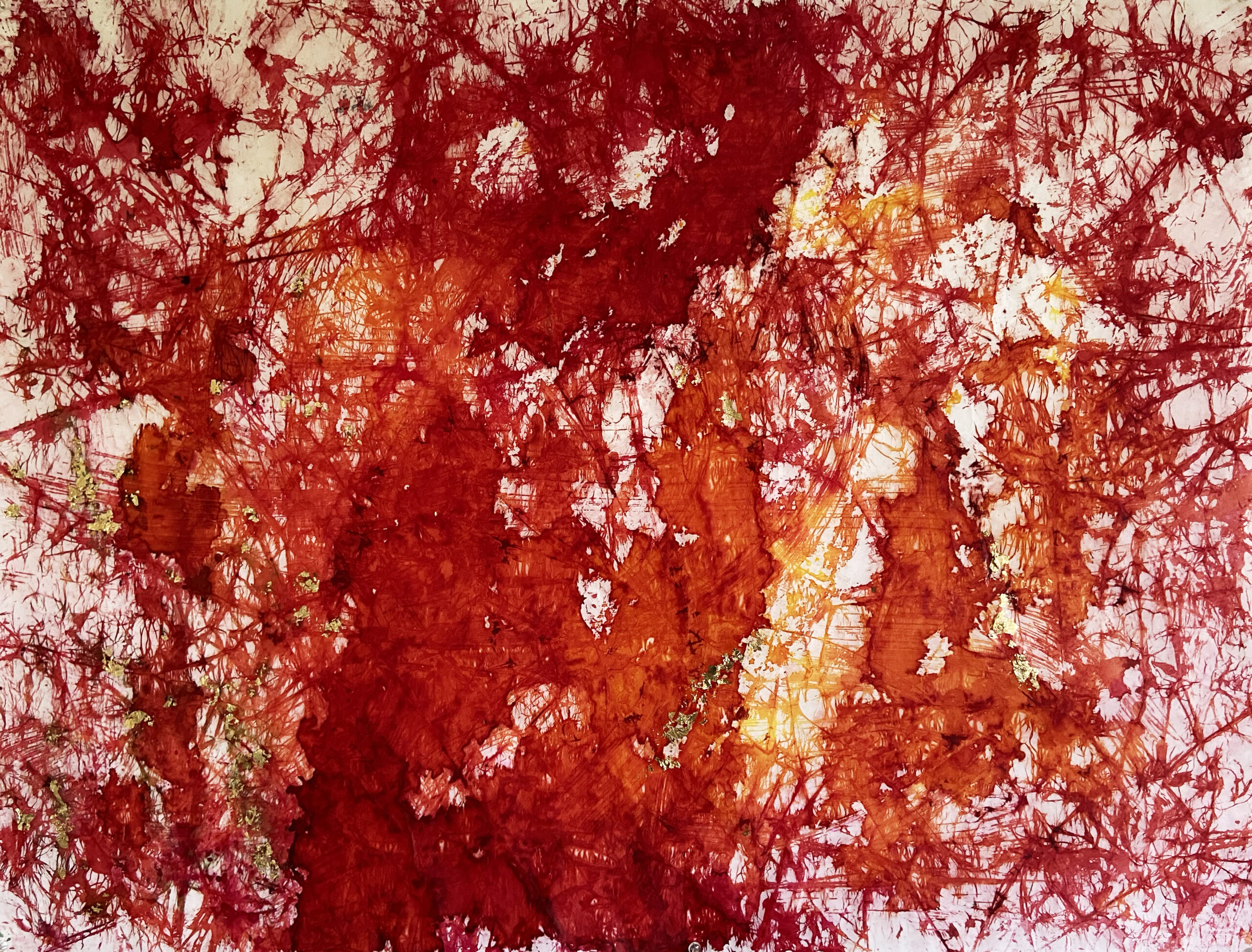 Shreya Mehta, Fire Elemental Landscape, Vegan pigment, 22K gold leaf, Ink on cold pressed Arches paper, 35''x25'', $3,600