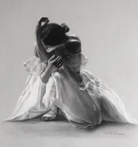 "Carol Gromer, Layers, Charcoal and Conte, 29""x26"""