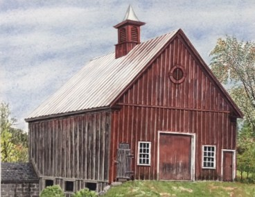 "Jim Maciel, Vermont Barn, Watercolor, 24""x30"", $250"