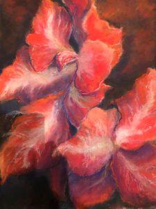 """Arlene Oraby, Dancing in Red, Pastel, 13.5""""x17"""", $350"""