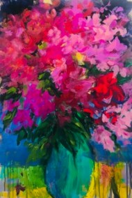 "Denise Petit, In Full Bloom Again, Acrylic on board, 20""x30"", $600"