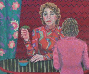 "Paula Blumenfeld, I've got your back (6th self portrait), Oil on canvas, 30""x40"", $5,000"