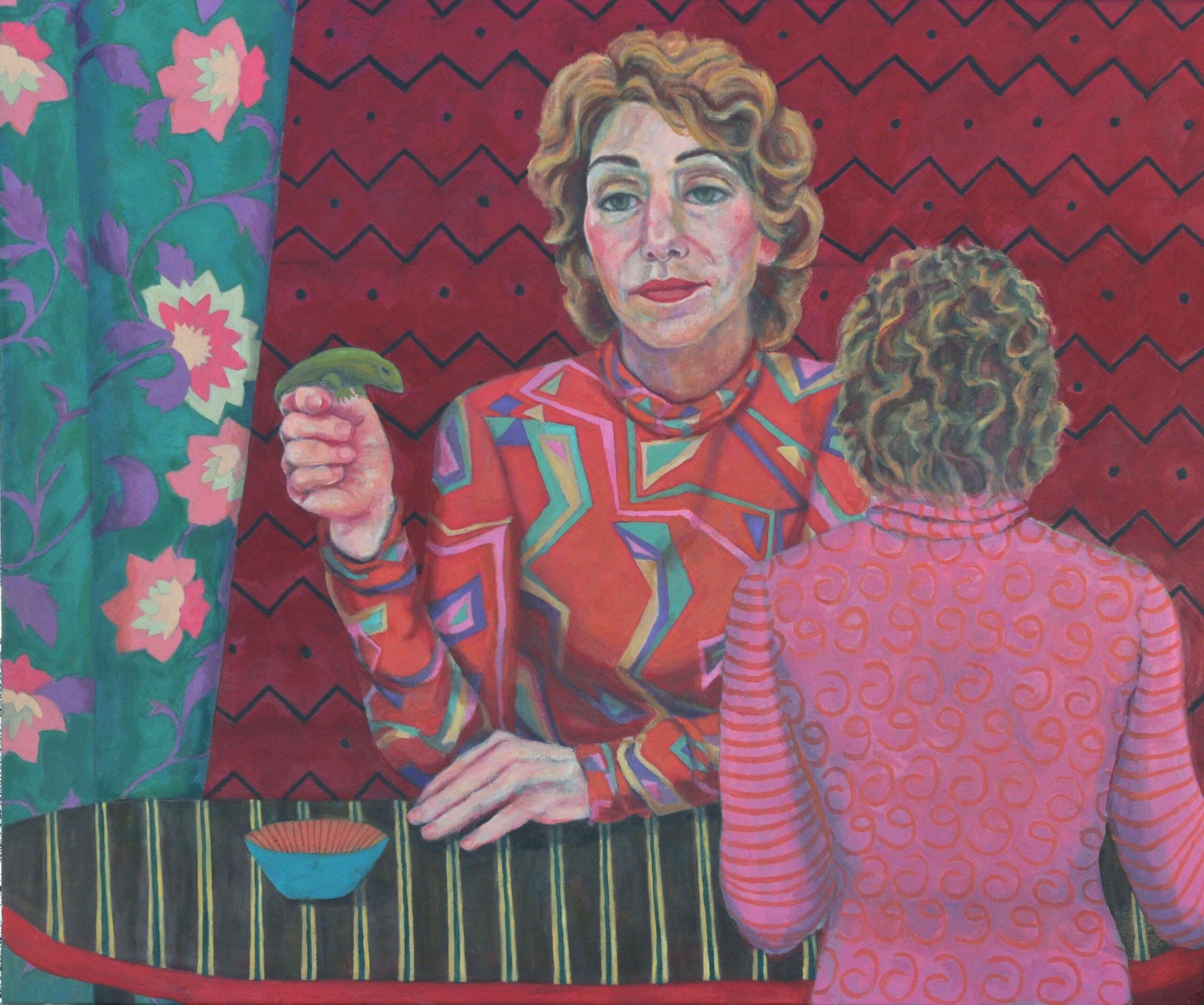 "Paula Blumenfeld, I've got your back (6th self portrait), Oil on canvas, 30""x40"", $5,000"