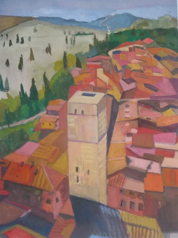 "Meryl Shapiro, San Gimignano, Gouache on Paper, 10.5""x8"", $600"