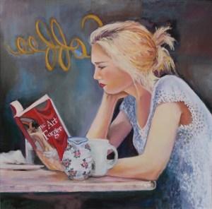"Sherri Paul, The Art Forger, Oil on canvas, 24""x24"", $850"