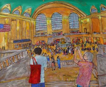 """Don Sexton, Grand Central Wedding, Mixed media: Inks and oil pastels, 19""""x23"""", $1,100"""