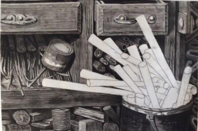 """Jim Maciel, Workshop, Sumi ink, 24""""x36"""", $250"""