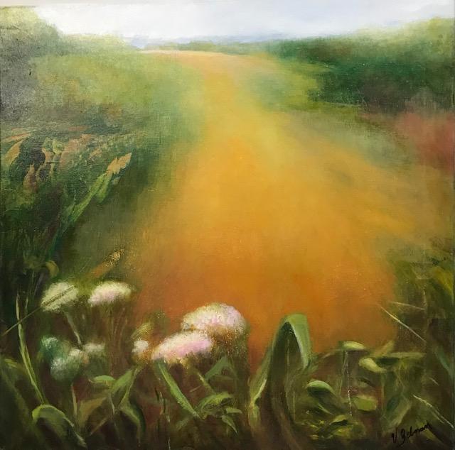 "Virginia Zelman, Meadow with wild flowers, Oil on canvas, 20""x20"", $800"