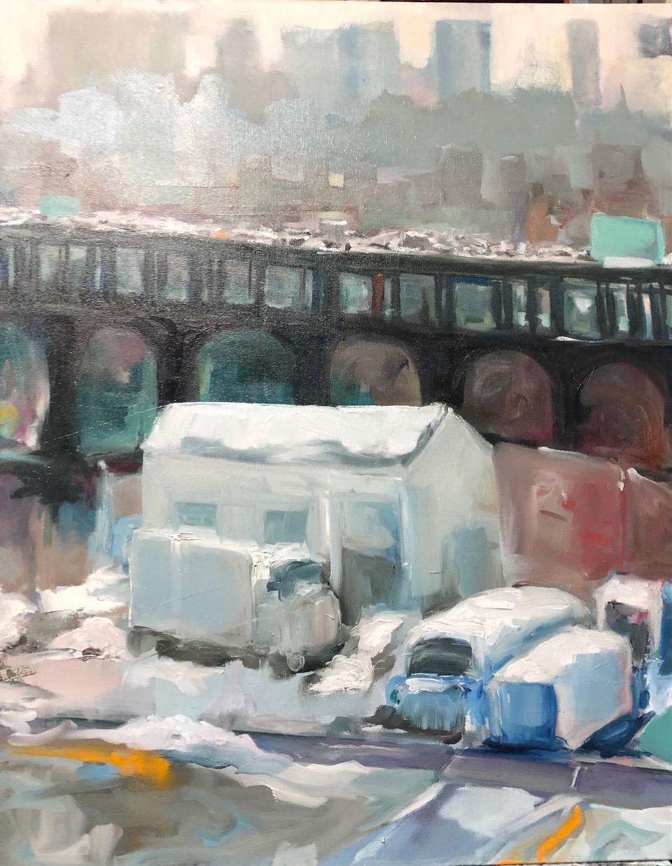 """Ruth Obernbreit, Bruckner in Winter, Oil, 24""""x30"""", $1,100"""