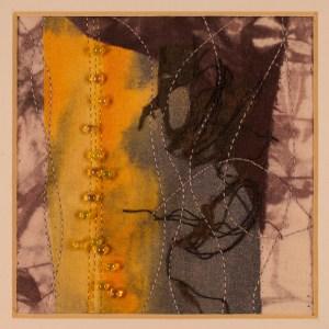 """Randy Frost, Night Sky, Fiber, 4""""x4"""" (9""""x9"""" framed), $225"""