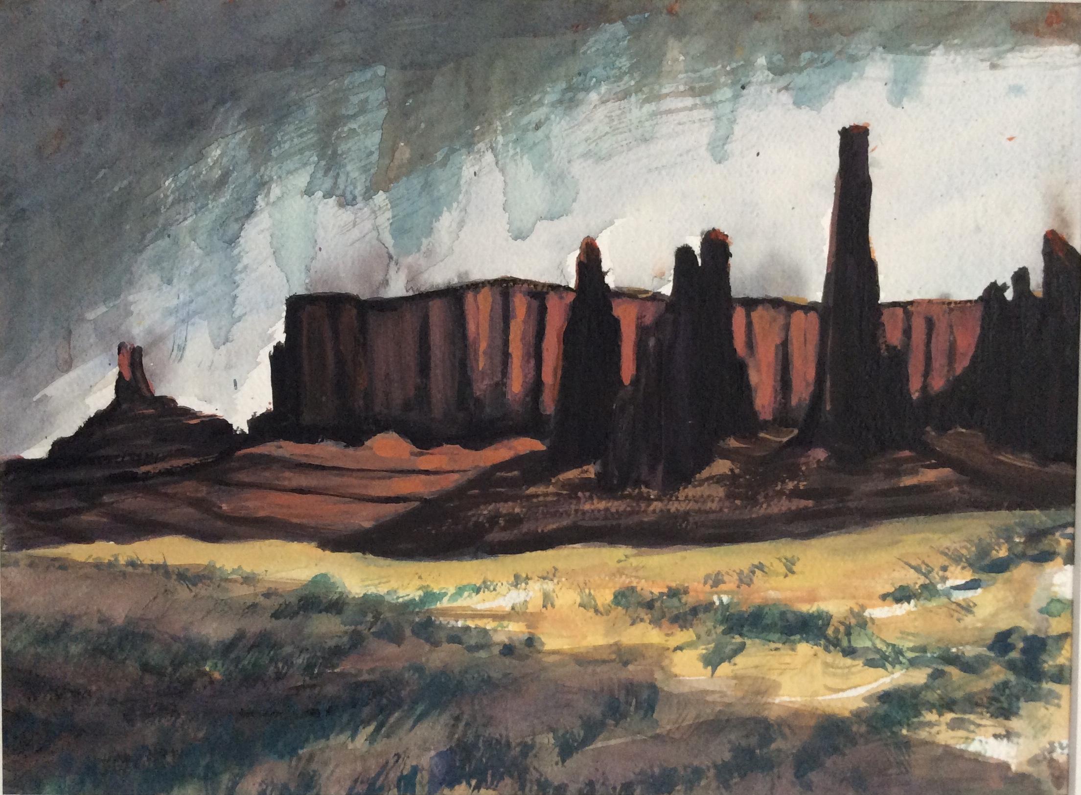 "James Maciel, Monument Valley, Watercolor, 12""x15"", $45"