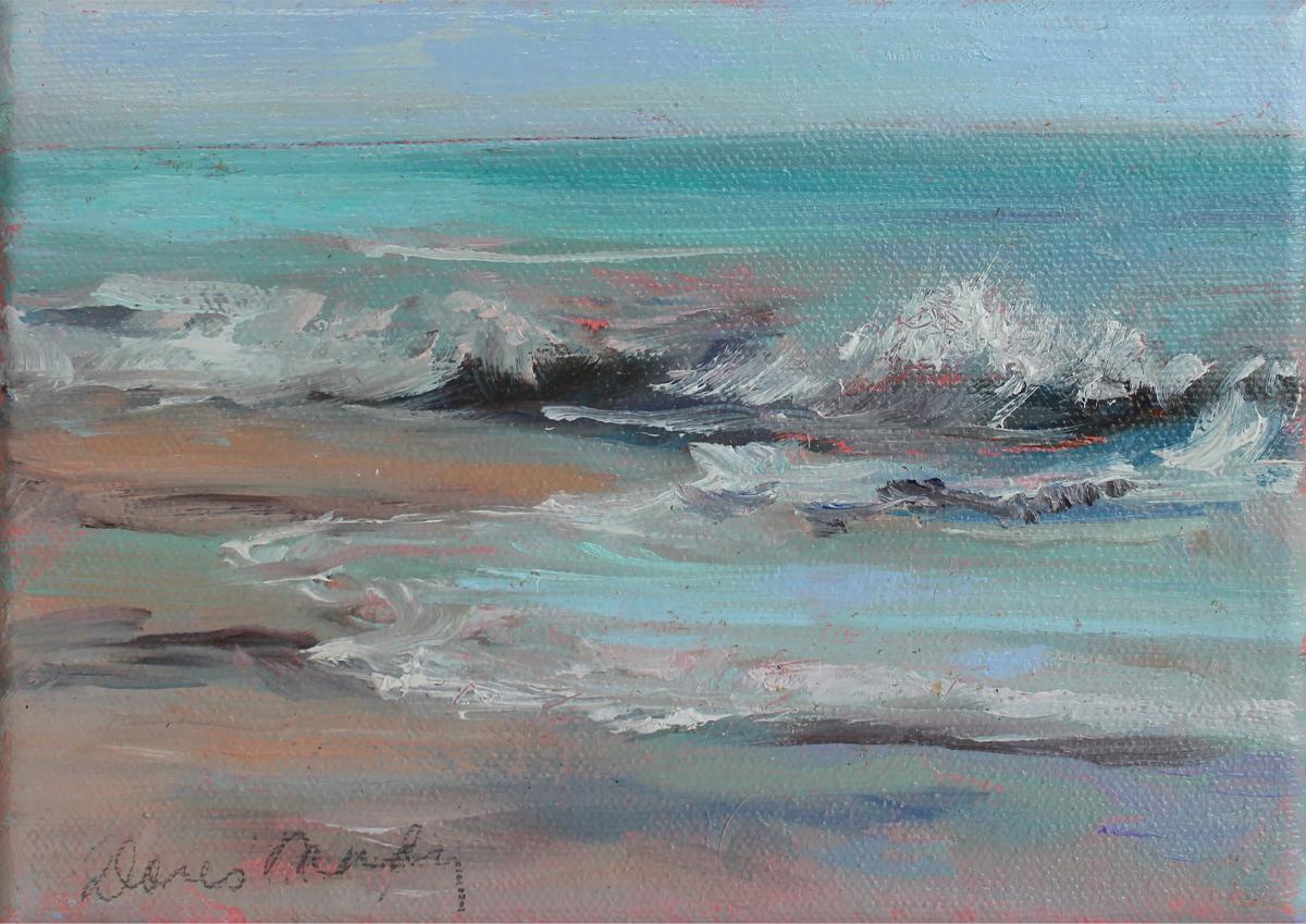 "Doris Mady, Tickling The Shore, Oil, 11.75""x10""x1.25"", $250"