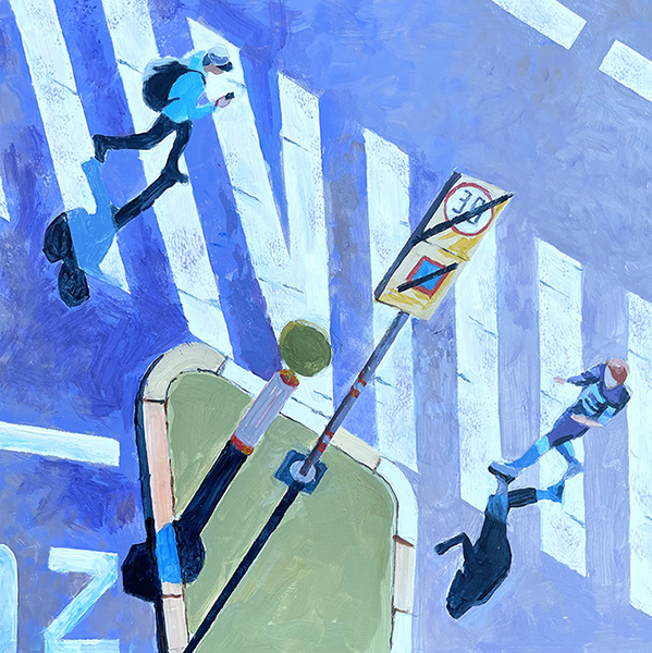 """Marion Schneider, Crosswalk Geometry, Acrylic, 12""""x12""""x1"""", $1100"""