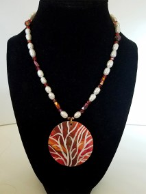 """Leslie Hardie, Pearl and crystal necklace with painted wood pendant 18"""" - 20"""", $150"""