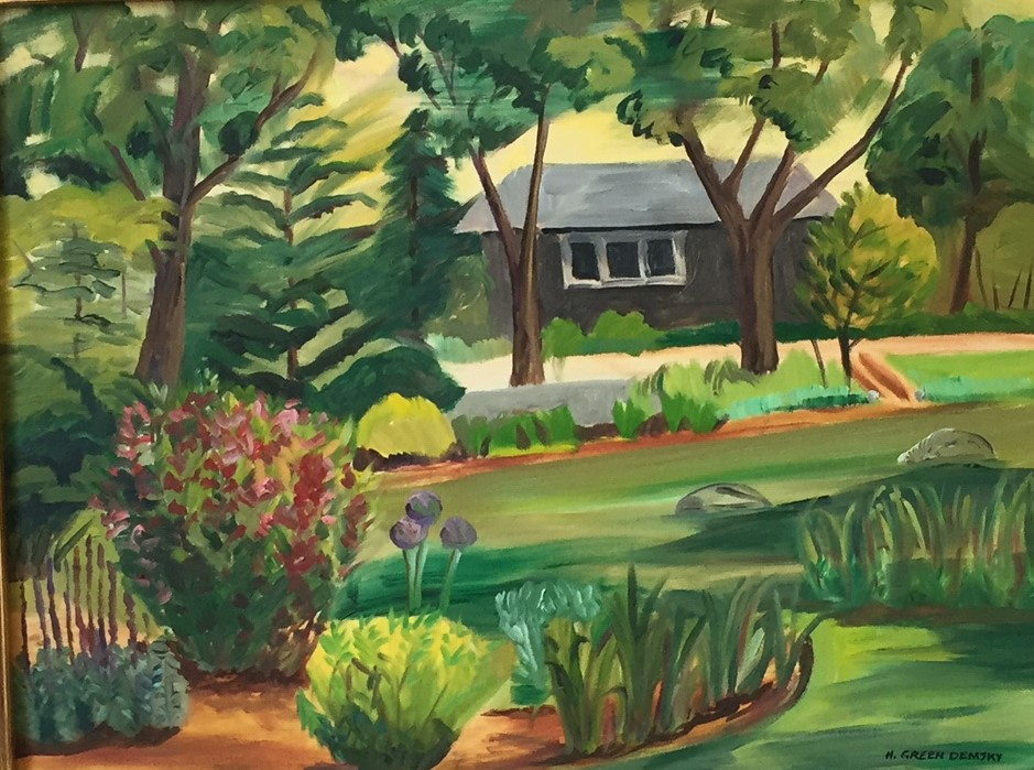 "Hilda Green Demsky, Green Garden, Oil on canvas, 24""x30"", $700"
