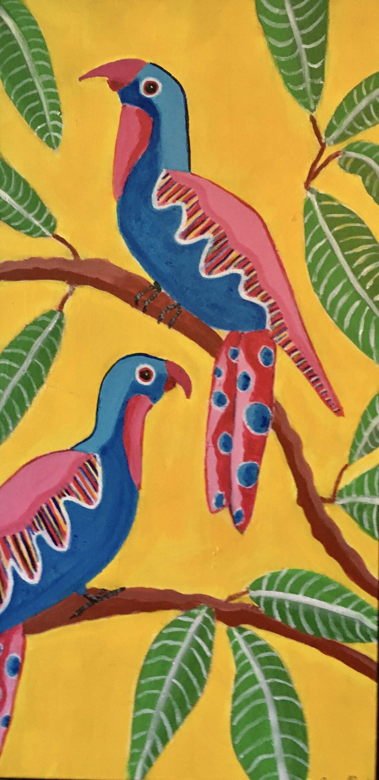 """Dorothy Cancellieri, Springtime Parrots, Acrylic, 12""""x24"""", $450"""