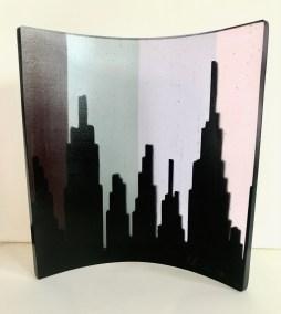 """Jacqueline Lorieo, Urban Dusk, Cast glass , 7""""x7""""x2"""", $400"""