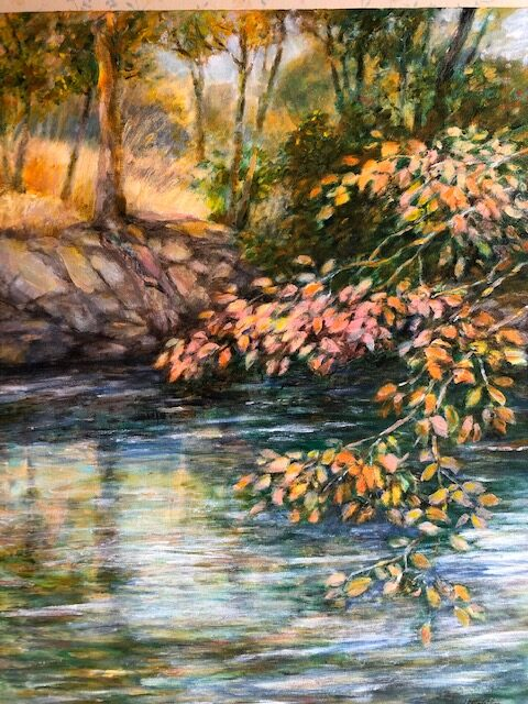 "Helen Schiliro, Bronx River in Spring, Acrylic, 16""x20"", $600"