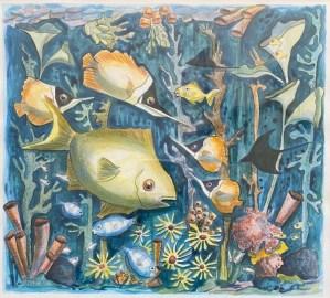 "Inge Pape Trampler, Sea Life #1, Acrylic, 17""x17"", $500"