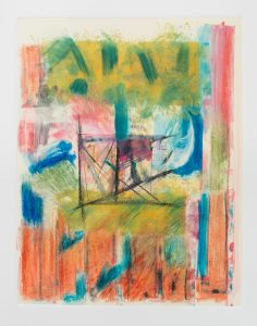 """Helen Pasternack, Through the picket fence, Monotype collage, 14""""x18"""", $400"""