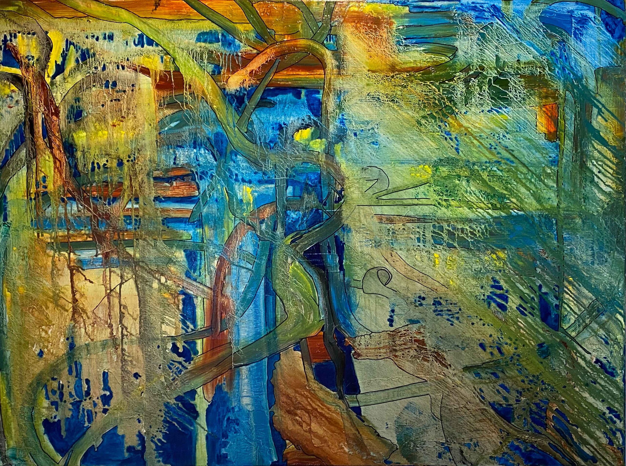 """David Alge, Passing through, Oil, marker on canvas, 30""""x40"""", $650"""