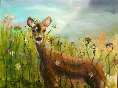 """Arlene Oraby, The Surprise, Oil on canvas, 16""""x20"""", $470"""