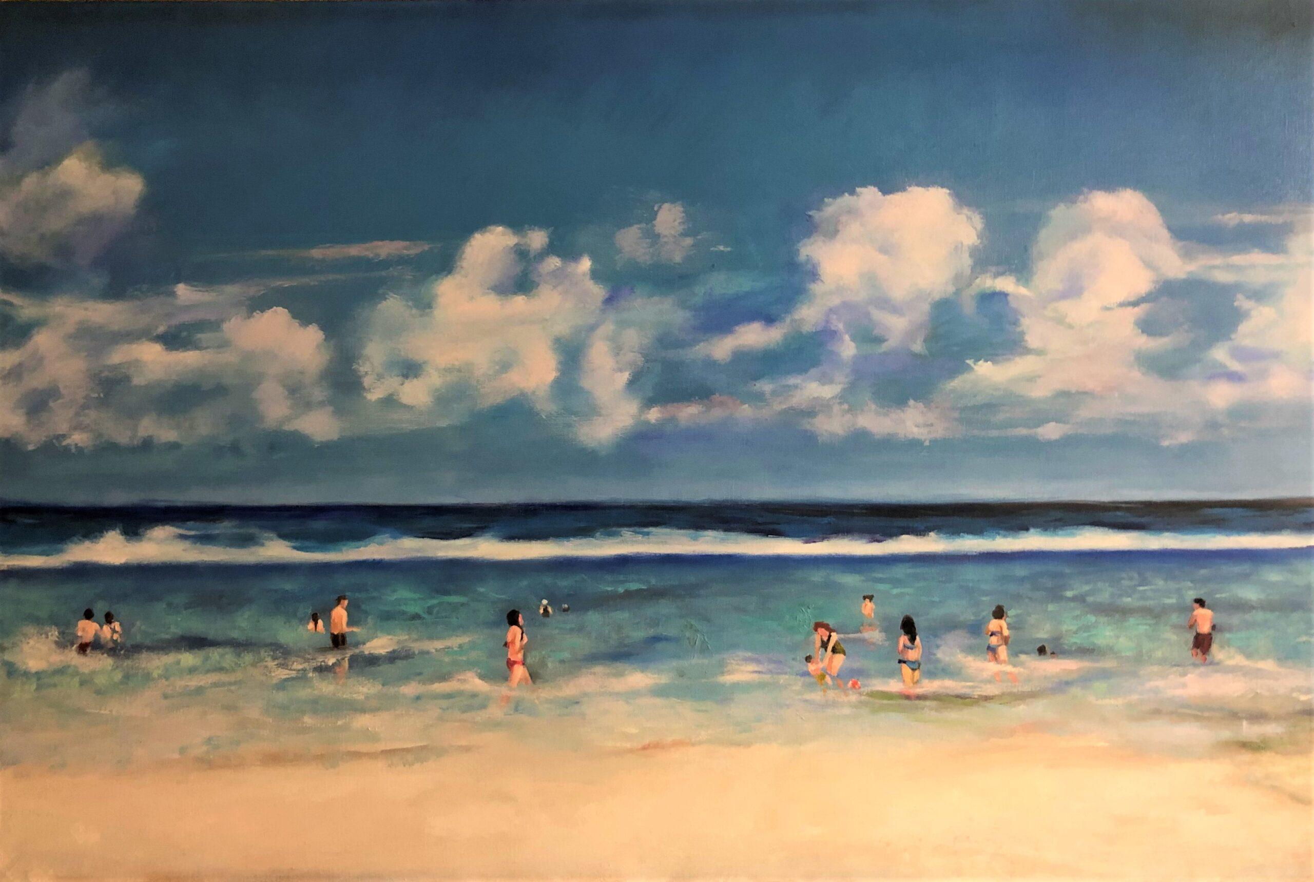 """Sherri Paul, Beach Day, Oil on linen, 24""""x36"""", $850"""
