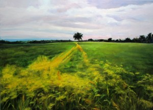 """Sherri Paul, Berkshire meadow, Oil on linen, 19""""x26"""", $400"""