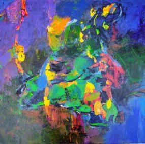 """Fabian Wes Fleurant, Wild Species, Acrylic on giclee, 24""""x24"""",$900"""