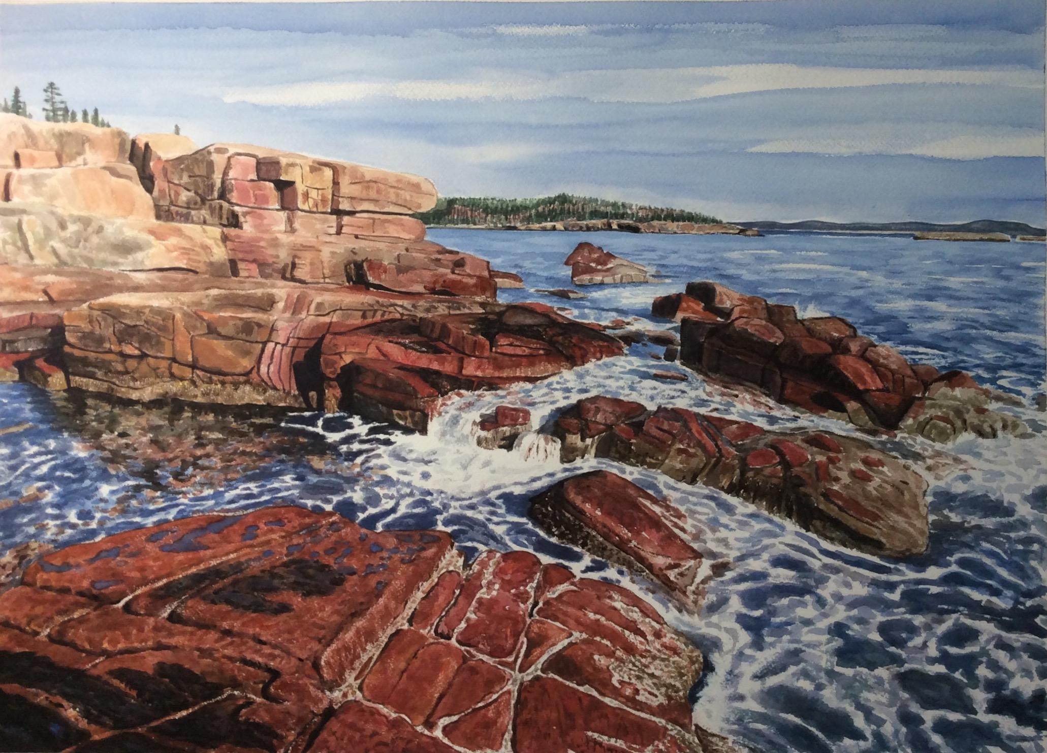 "Jim Maciel, Maine coast 1, Watercolor, 24""x30"", $250"