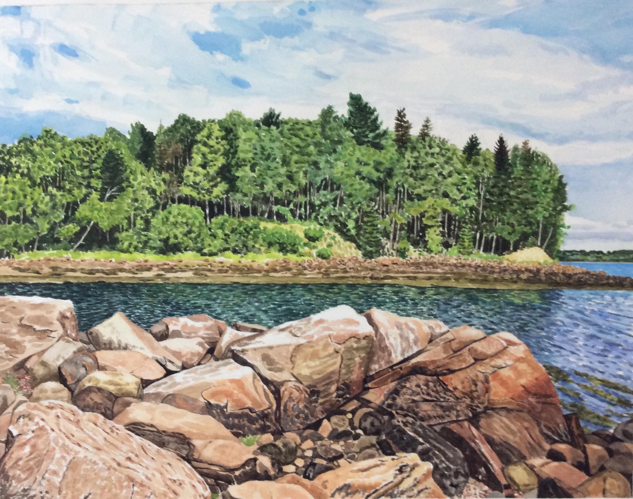 "Jim Maciel, Maine coast 2, Watercolor, 24""x30"", $250"