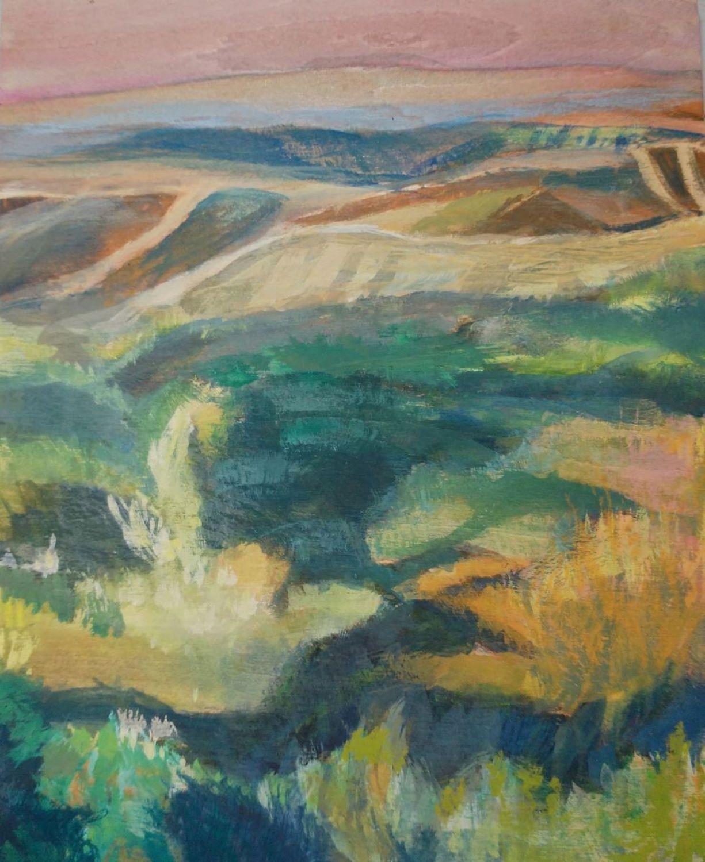 "Meryl Shapiro, Landscape with Mountains and Trees, Acrylic Gouache on Wood Panel, 8""x10"", $800"